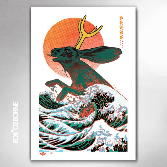 JACKALOPE-ZILLA and the Great Wave Limited Edition 13x19 Art Print by Rob Ozborne