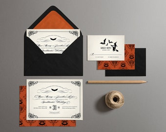 Halloween Wedding Invitations, Printable Halloween Wedding Invites, Off Beat Bride Wedding Invites (Vintage)