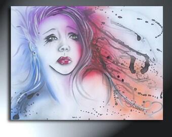 Woman Colorful Portrait Painting On Canvas Original Artwork Size 18 x 24 Sad Woman Art