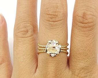 Herkimer Diamond Ring Quartz Crystal- Sterling Silver or Gold