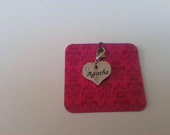 Pendentif cœur au prénom de Agathe fabrication de bijoux ou porte clés
