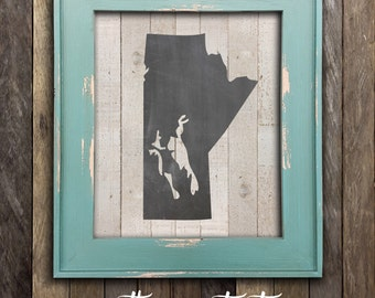 Manitoba Map Print - Canada Praries - Canadian Rustic Chalkboard Province Poster - Canadian Home and Cabin Nursery Decor - Winnipeg MB