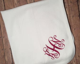 Infant Thermal Blanket With Monogram