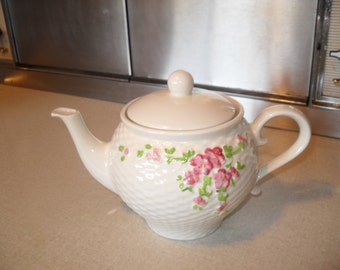 Vintage Decorative Teapot with Pink Flower Detail from Teleflora 1985