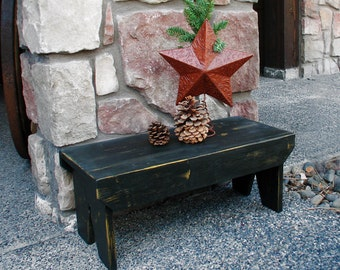 Large farmhouse stool. Distressed painted stool. Rustic step stool. Primitive bench.