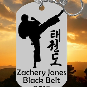 Taekwondo Keychain Gift, Stainless Steel, Personalized FREE w NAME, Belt  Color and Year