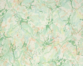 1930's Vintage Wallpaper - Green Orange and White Marble Paper