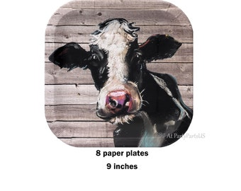 cow plates, rustic barn wood paper plates, farm birthday, barn wedding, rural, farm animals, farmers, beef, dairy, bovine, agricultural