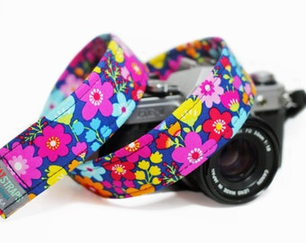 Floral Camera Strap, Blue and Pink Camera Strap for DSLR - Forget me Not