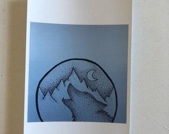 Pointillism Wolf Print