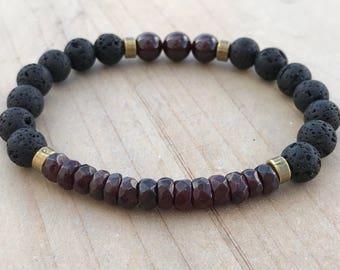 Garnet Bracelet, Lava Bracelet, Yoga Bracelet, Spiritual Bracelet, Boho Bracelet, Energy Bracelet, Purification Bracelet, Mala Bracelet