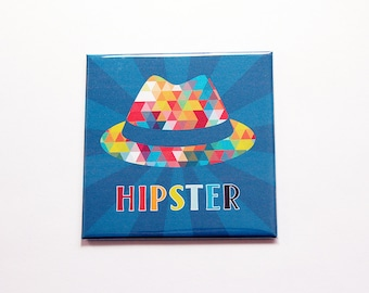 Hipster magnet, hat magnet, locker magnet, Magnet, Fridge magnet, Stocking stuffer, multi color, blue, gift for him (7341)