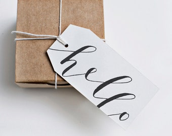 hello gift tags [black]