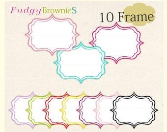 ON SALE Square Bracket Frames Clip Art, white background frame, digital scrapbooking frames.A-16 , Instant download