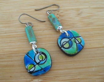 Polymer Clay Glazed Abstract Earrings.  Titanium Ear Wires for sensitive ears.  Abstract/Bohemian/Retro/Artisan