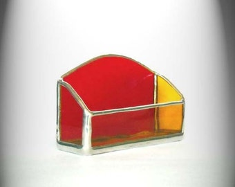 Stained Glass Business Card Holder Red And Yellow