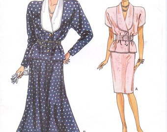 80s  Womens Shawl Collar Blouson Top & Slim or Flared Skirt Vogue Sewing Pattern 9772 Size 8 10 12 Bust 31 1/2 to 34 FF Vintage Patterns