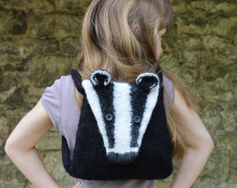 Knitting Pattern (UK) for Boris - a felted badger bag.  Knitted in chunky yarn then felted in the washing machine. Backpack or shoulder bag