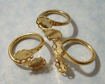 3 Vintage Adjustable Gold Plated Brass Ring Blanks with Double 8 x 6mm Cabochon Settings
