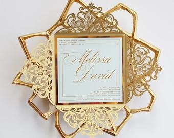 Gold wedding invite Etsy