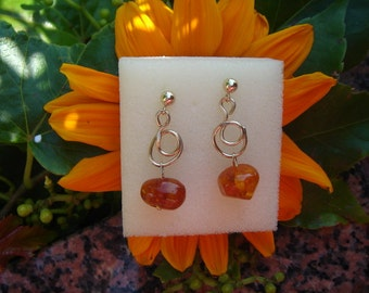 Elegant earrings with gold 585 (14 K) and amber!