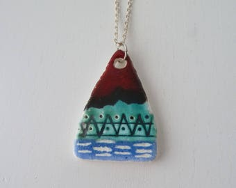 triangle ceramic necklace/ contemporary ceramics jewelry/ easter gift for her