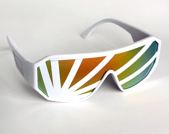 Rasslor Rising Sun White Stripe Shield Sunglasses