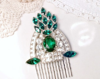 Antique Art Deco Emerald Hair Comb, Green Bridal 1930s Rhinestone Vintage Wedding Silver Dress Clip Hairpiece Great Gatsby Wedding Headpiece