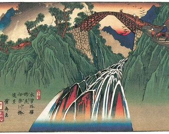 Hand-cut wooden jigsaw puzzle. NOJIRI BRIDGE JAPAN. Hiroshige. Japanese woodblock print. Wood, collectible. Bella Puzzles.