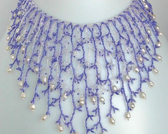 Pattern seed beaded necklace netting stitch tutorial instructions coraling beading coral fringe bead pearl pearls pattern patterns beadwork