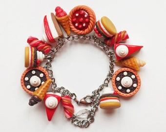 Sweet Cake Bracelet, Bakery jewelry, Food Miniatures Jewellery Handmade Charm polymer clay jewelry, Gift for Girl