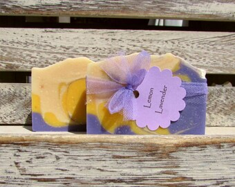 Lemon Lavender Handcrafted Soap, Goats Milk Soap, Mild Soap, FREE SHIPPING