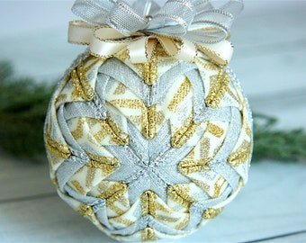 Handmade Quilted Christmas Ornament-Gold-Cream-Silver-Treasure the Moment