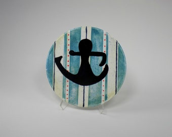 Awesome Anchor white blue striped 6 inch hand painted tile