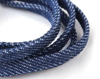 1 m cord 5mm - creating jewelry dark blue denim-