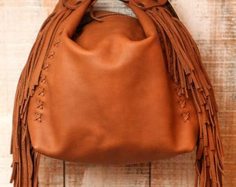 Leather handbag, small leather bag, leather fringe purse, evening purse, soft leather handbag, leather pouches, tassels leather bag,