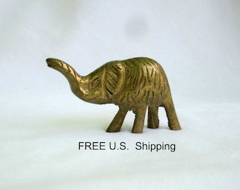 Miniature Brass Elephant Small Figurine Zoo Animals Arts And Crafts