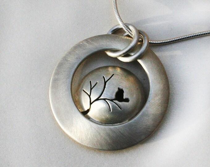 Silver Jewelry, Silver Jewellery, Silver Pendant, Songbird on a Tree, Tree Pendant, Bird Jewelry.