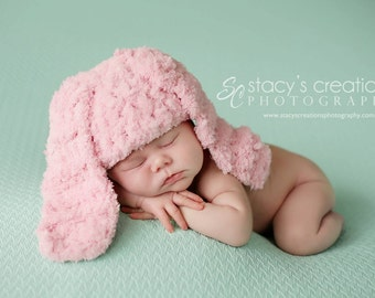 Newborn Bunny Hat, Newborn Girl Hat, Baby Bunny Costume, Pink Bunny Hat, Baby Hat for Easter, Baby Bunny Beanie, Infant Bunny Hat, Fluffy