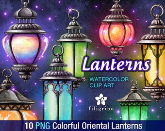 Oriental Lantern WATERCOLOR Clip Art. 10 PNG elements. Garden, Holiday, Christmas, Wedding, Candle, Light, Lamp, Halloween. Read how to use