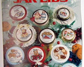 "Counted Cross Stitch ""Just a Little Something JAR LIDS"" Leisure Arts 1990"
