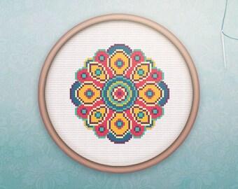 Mandala Cross Stitch • Modern Geometric Cross Stitch Pattern • Modern Embroidery • Counted Cross Stitch PDF • Mystic Flower XStitch Pattern