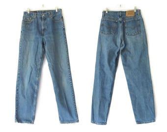 Levis 560 Jeans Vintage Denim Loose Fit Straight Leg Boyfriend Mom Jean Size 10 30 Waist Large Medium Blue Wash 1990s 90s Grunge