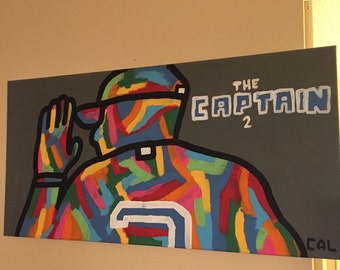 """SALE! Derek Jeter Yankees Hand Painted """"The Captain"""" on Canvas! 12x24"""