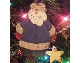 Santa Claus ornament, christmas tree decoration, tolepainting, rustic wooden, christmas decor, country christmas, farmhouse style christmas