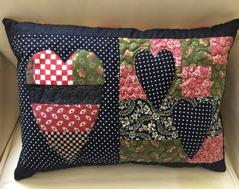 Vintage style patchwork  crazy heart cushion