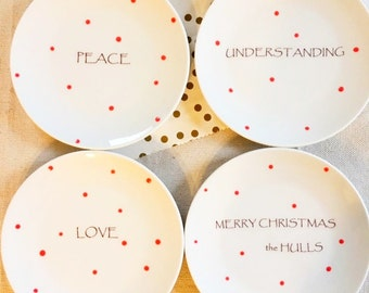 Holiday Gift, Peace, Love, Understanding, Merry Christmas Dessert Plates, Personalied, Polka Dot, Red, Dishes, Dessert Plates (Set of 4)