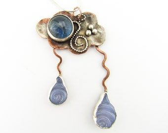 Rain Drop Cloud Copper Silver & blue glass Necklace Pendant Lampwork hammered copper jewelry Heady Glass Hand Blown Art Glass Mother's Day