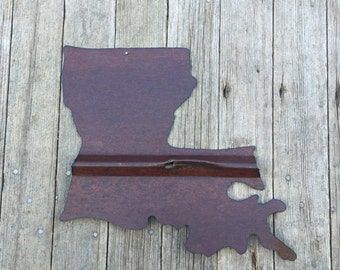 state of Louisiana, tin Louisiana wall hanging, rustic tin state of Louisiana, Louisiana,