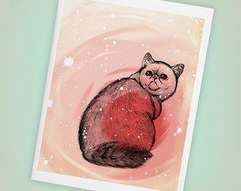 Trippy Exotic Shorthair Cat Single Blank Greeting Card, Size A2, Mini Art, Illustration, Stars, Pink, Pets, Matte Finish, Made in USA